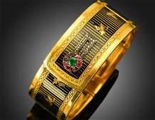 18K gold  enamel bracelet in France in 19th century