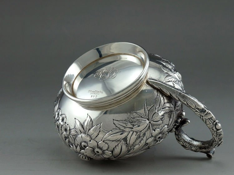 1925 Kirk & Son 4 pieces of sterling silver rose teapot - 10