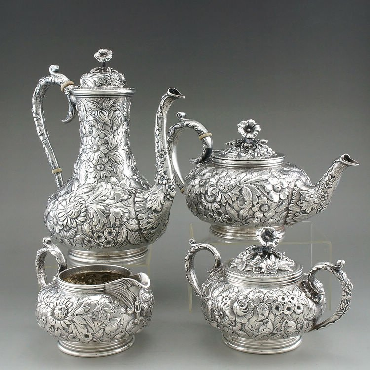 1925 Kirk & Son 4 pieces of sterling silver rose teapot