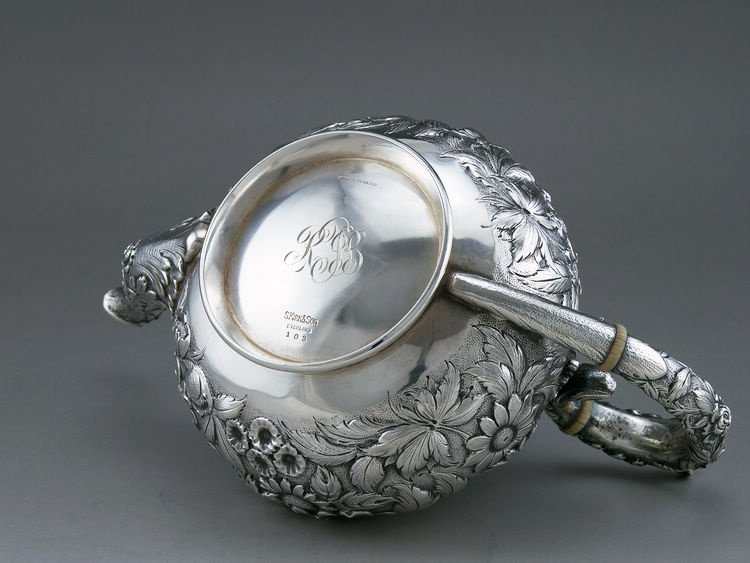 1925 Kirk & Son 4 pieces of sterling silver rose teapot - 7