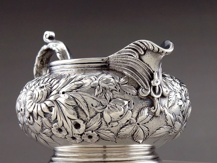 1925 Kirk & Son 4 pieces of sterling silver rose teapot - 9