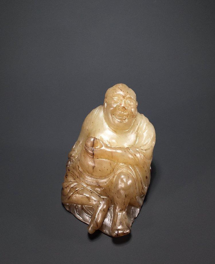 Ming Dynasty Hetian jade carving Maitreya Buddha