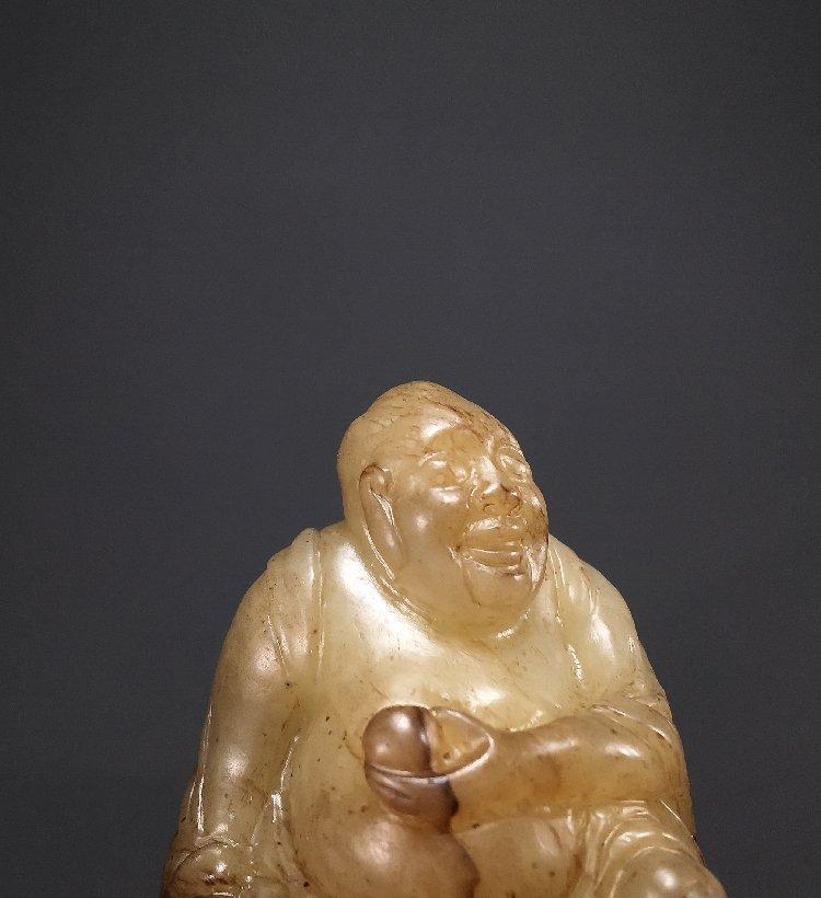 Ming Dynasty Hetian jade carving Maitreya Buddha - 4