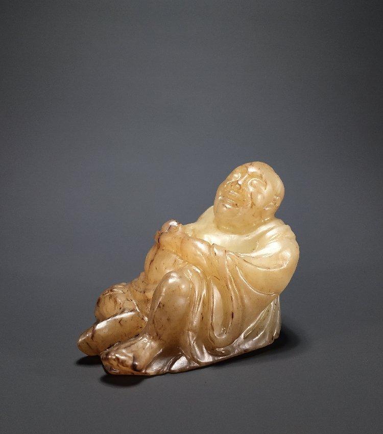 Ming Dynasty Hetian jade carving Maitreya Buddha - 5