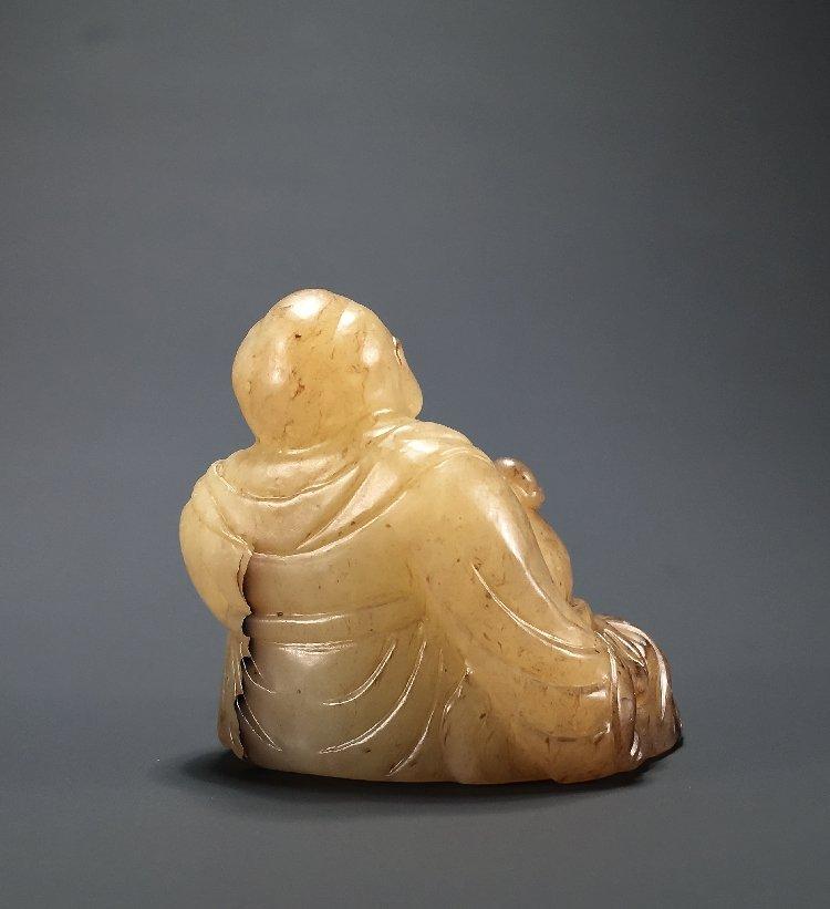 Ming Dynasty Hetian jade carving Maitreya Buddha - 6