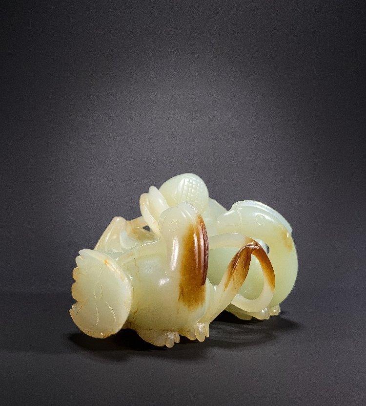 Ming Dynasty Hetian jade carving mandarin duck lotus