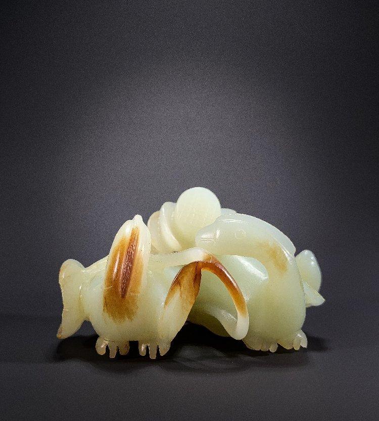 Ming Dynasty Hetian jade carving mandarin duck lotus - 3