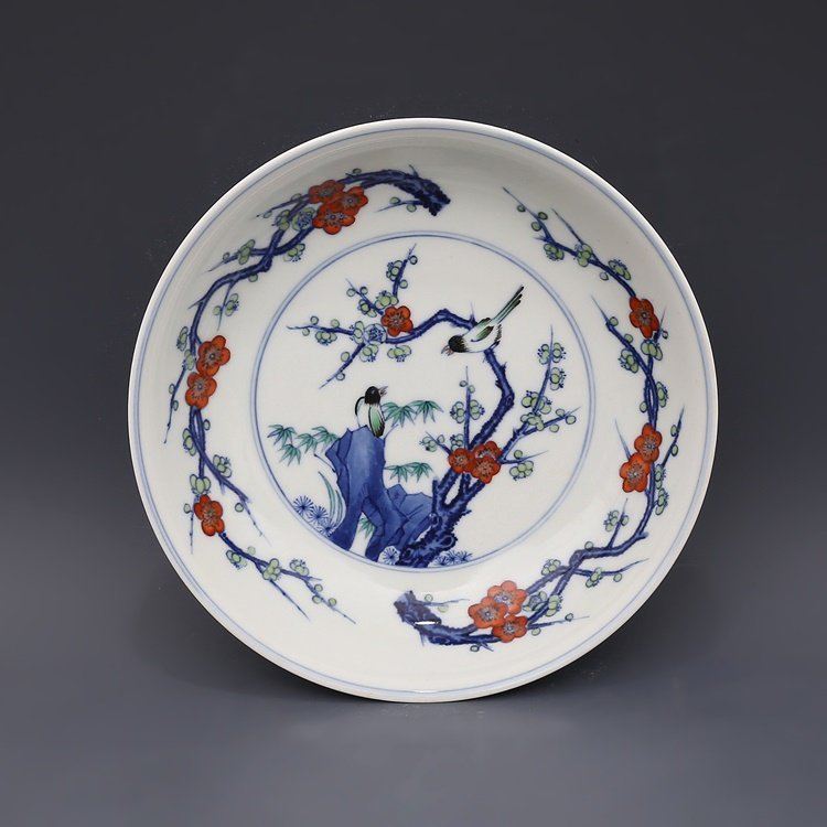 Qing Dynasty Blue and White Porcelain Flower Bird Plate