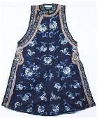 Qing Dynasty blue satin butterfly peony  vest