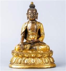 A Chinese Tibetan Gilt Bronze Buddha Shakyamuni