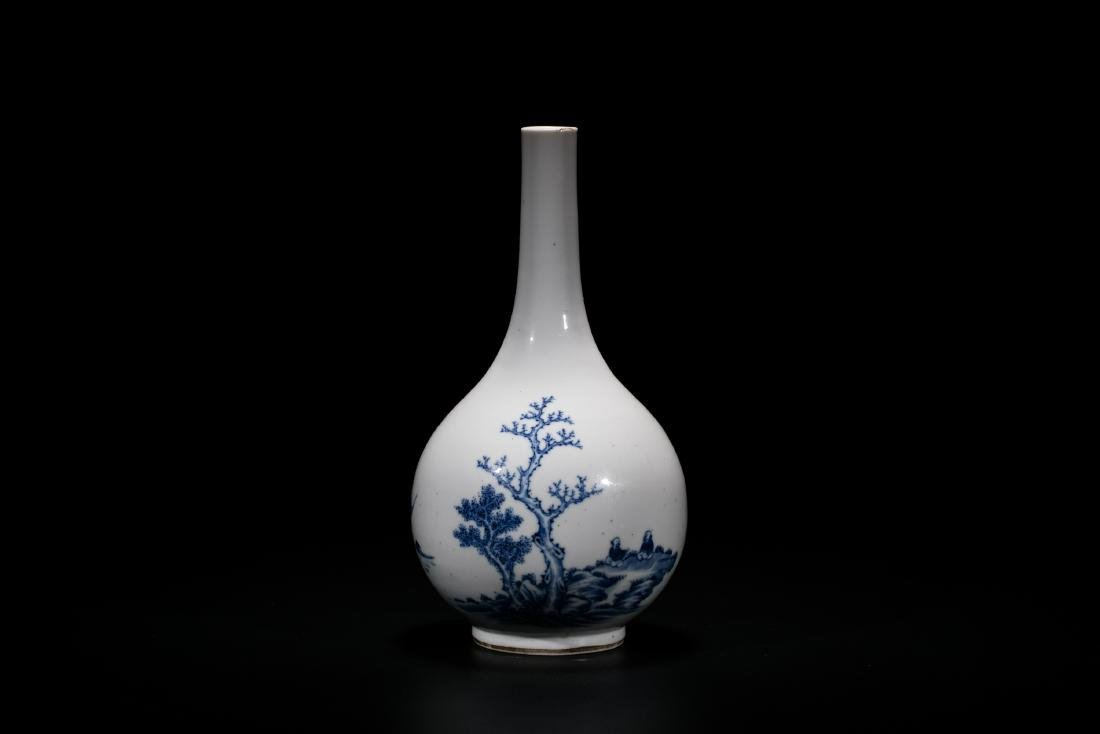 A Blue And White 'Figure' Bottle Vase