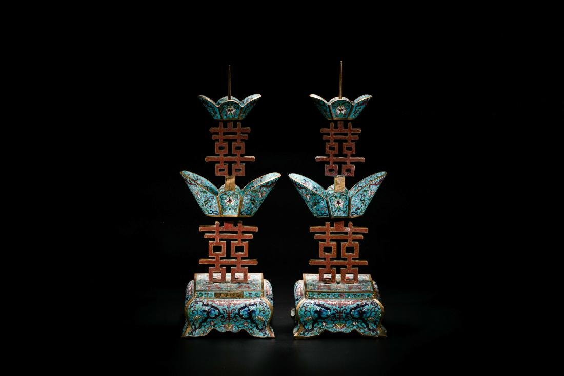 A Pair of Cloisonne Enamel Candlesticks