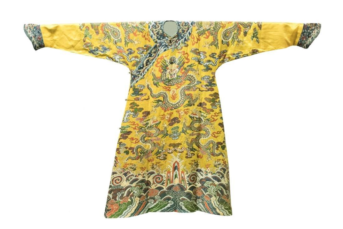 A Fine Imperial Yellow Silk Dragon Rob