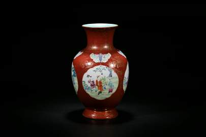 A Coral-Ground Gilt-Decorated Vase