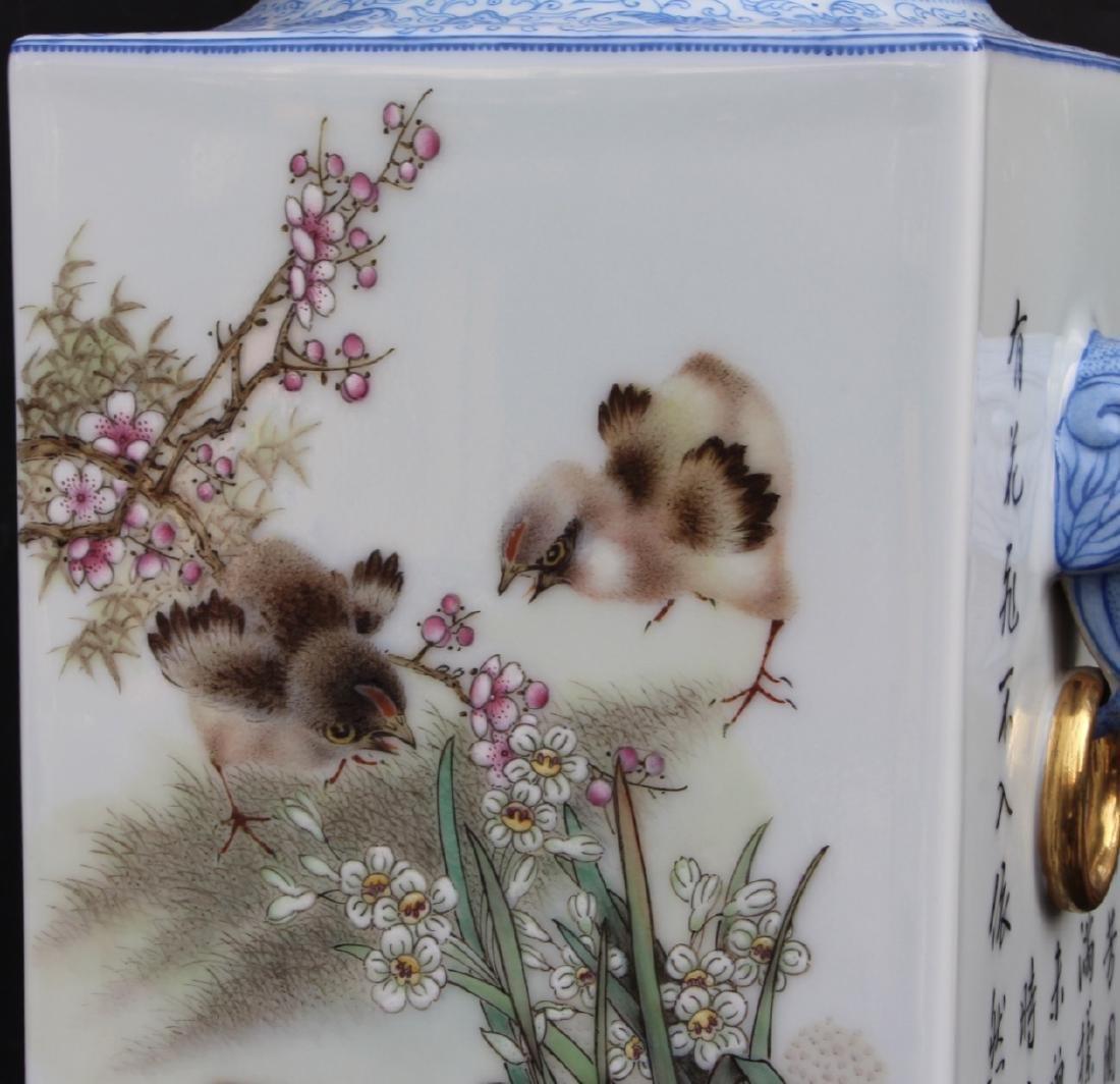 Pair Marked Yu Hanqing Famille Rose Vase - 4