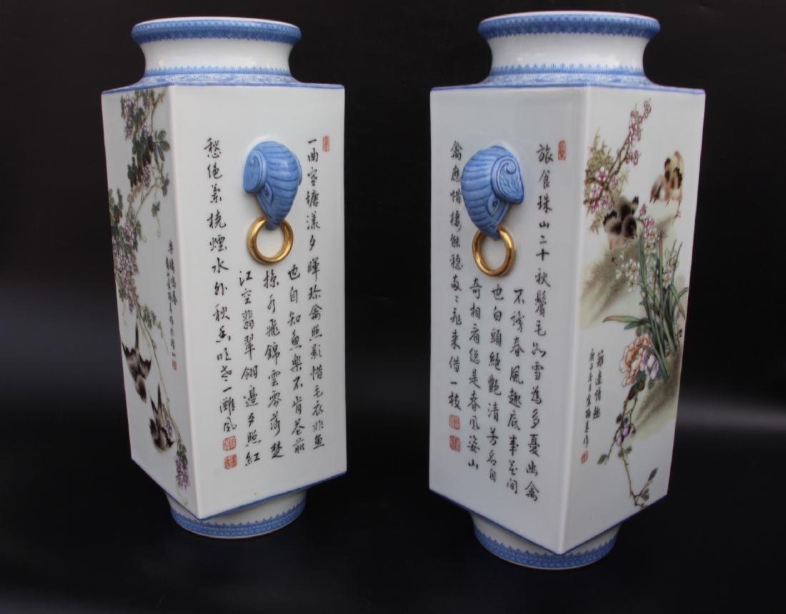 Pair Marked Yu Hanqing Famille Rose Vase - 5