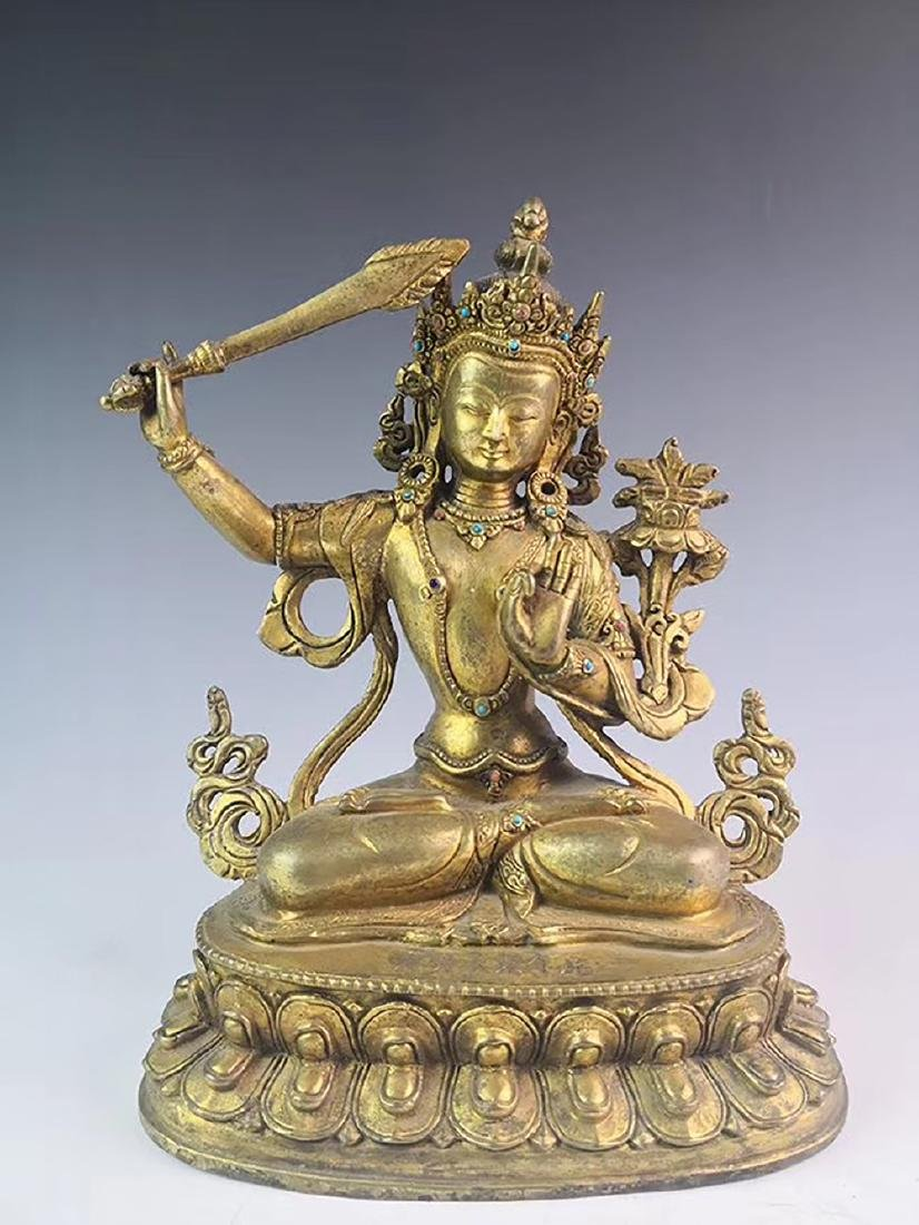 Yongle Marked Gilt-Bronze Figure of Buddha