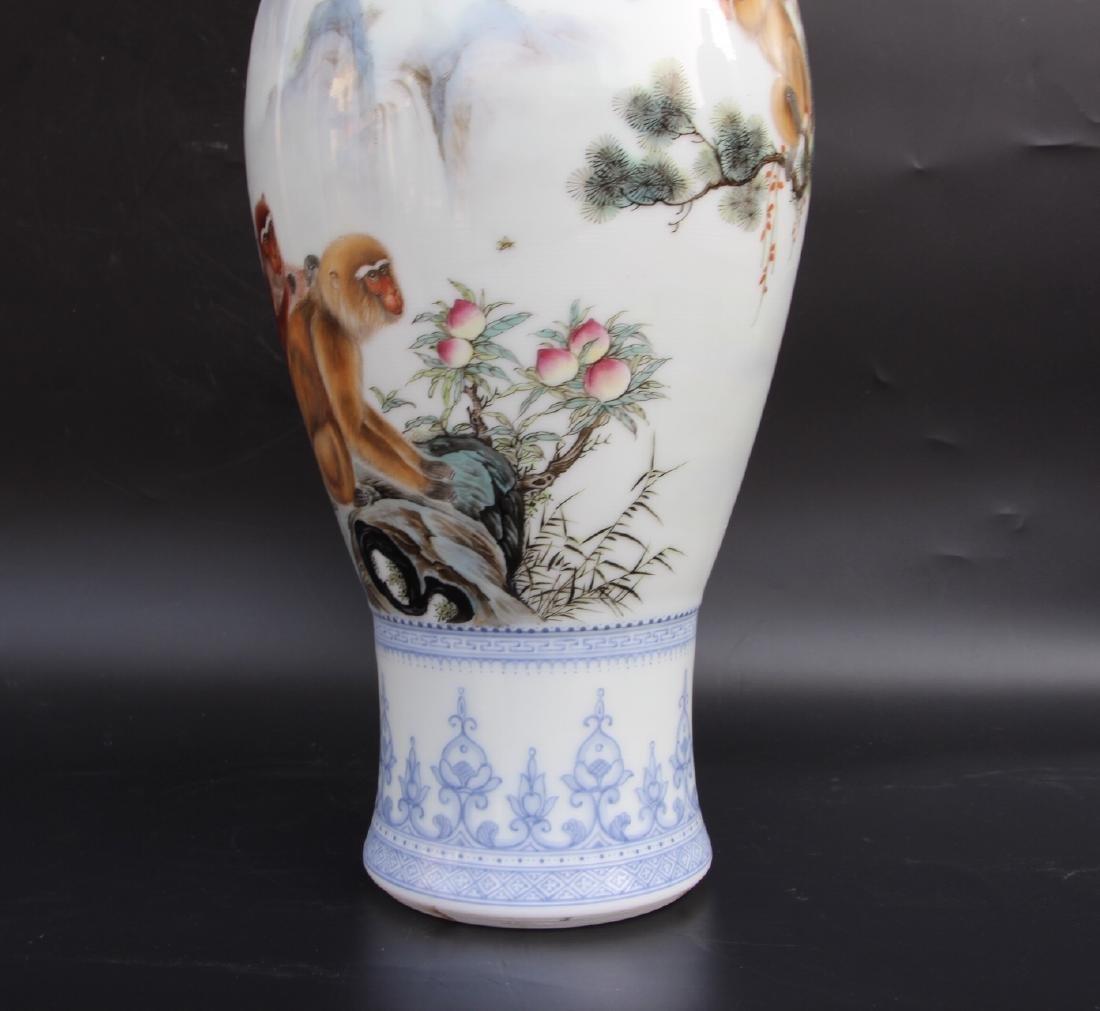 Wang Kunrong Famille Rose Vase - 4