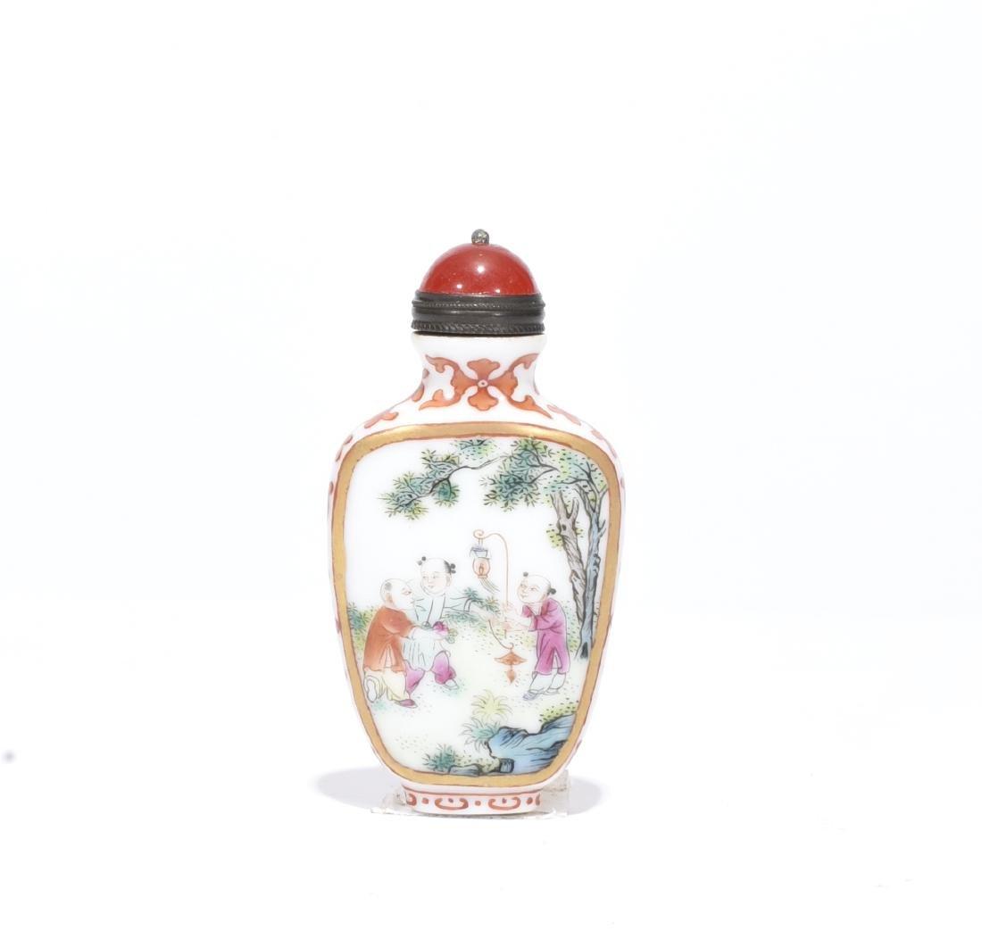 Qianlong Marked Enamelled Glass Snuff Bottle