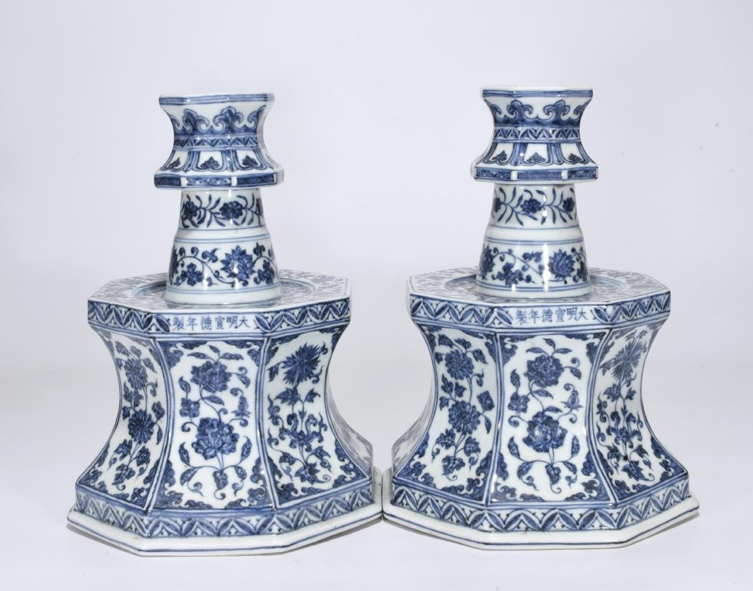 Pair Blue And White Candlesticks