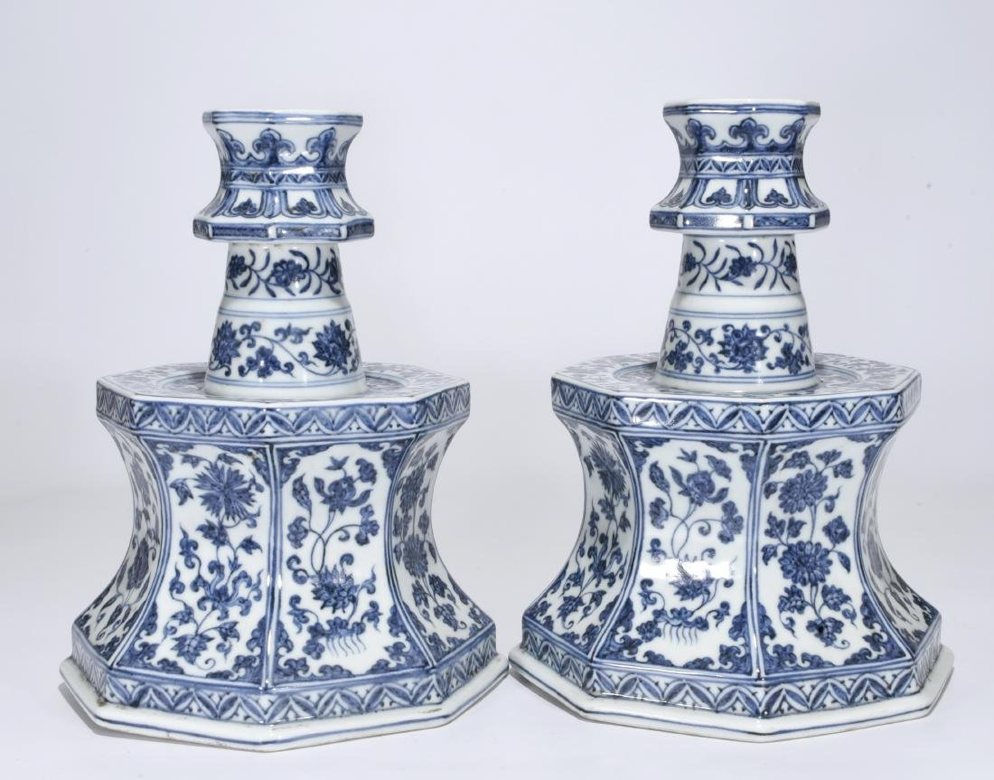 Pair Blue And White Candlesticks - 2