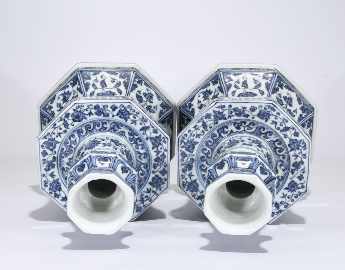 Pair Blue And White Candlesticks - 3