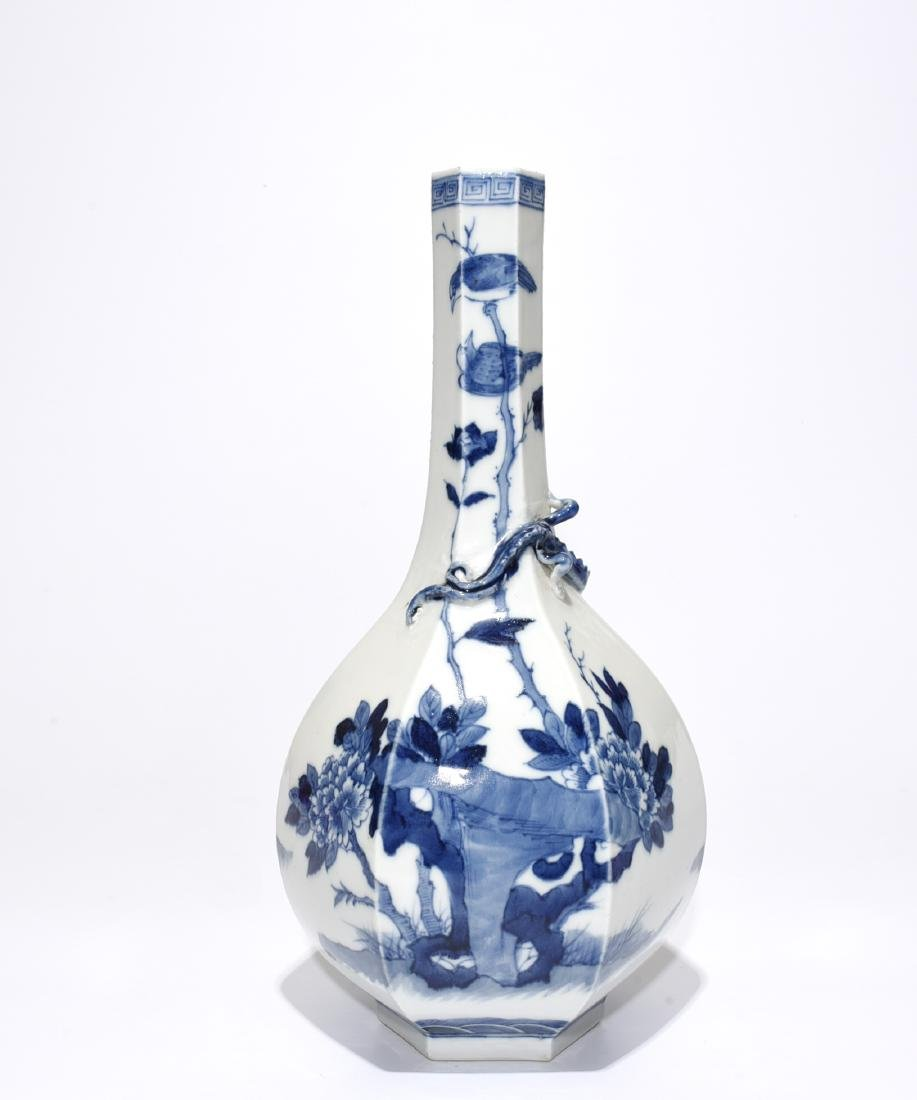 Blue And White 'Figure' Hexagon Vase