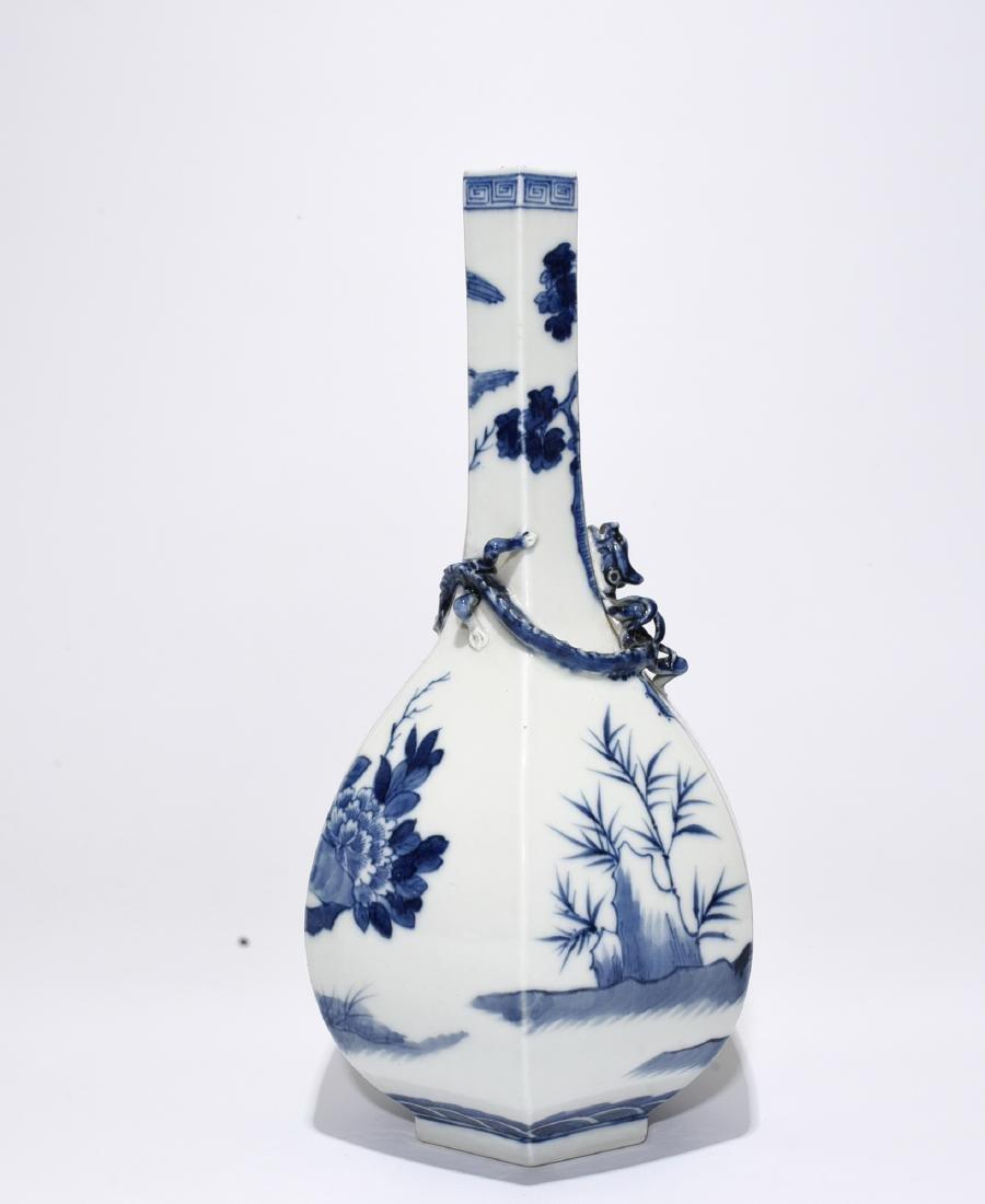 Blue And White 'Figure' Hexagon Vase - 2