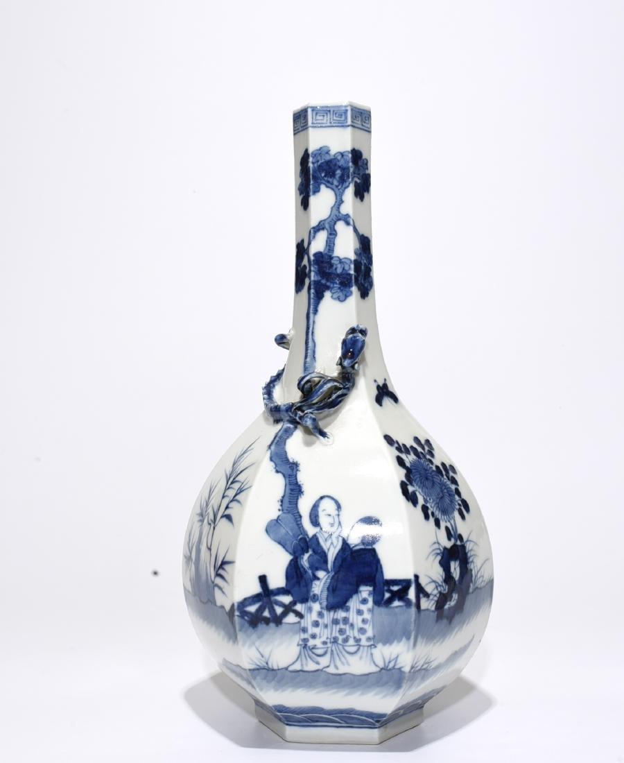 Blue And White 'Figure' Hexagon Vase - 3