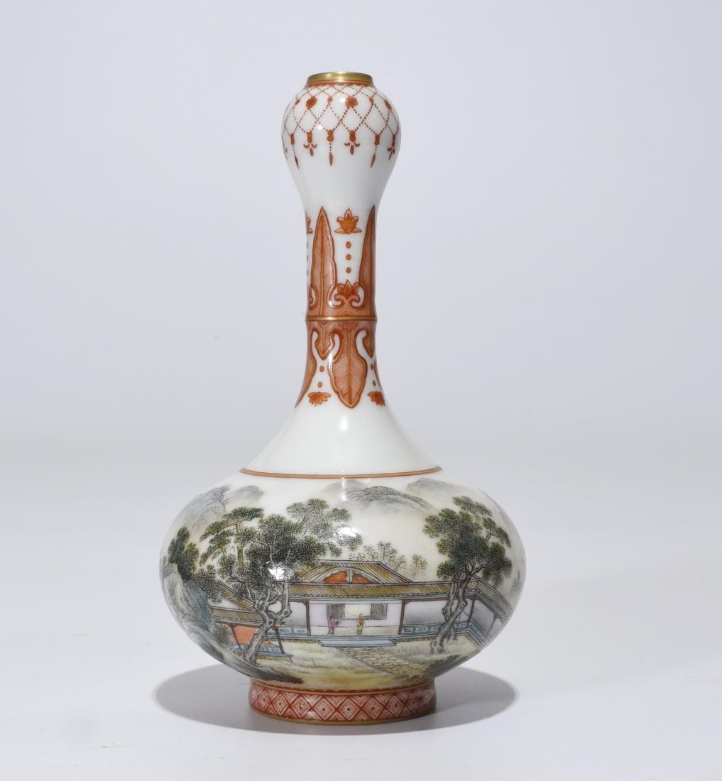 Qianlong Marked Falangcai Garlic-Head Bottle Vase