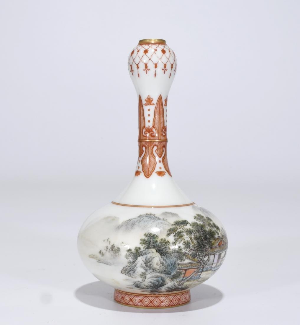 Qianlong Marked Falangcai Garlic-Head Bottle Vase - 2
