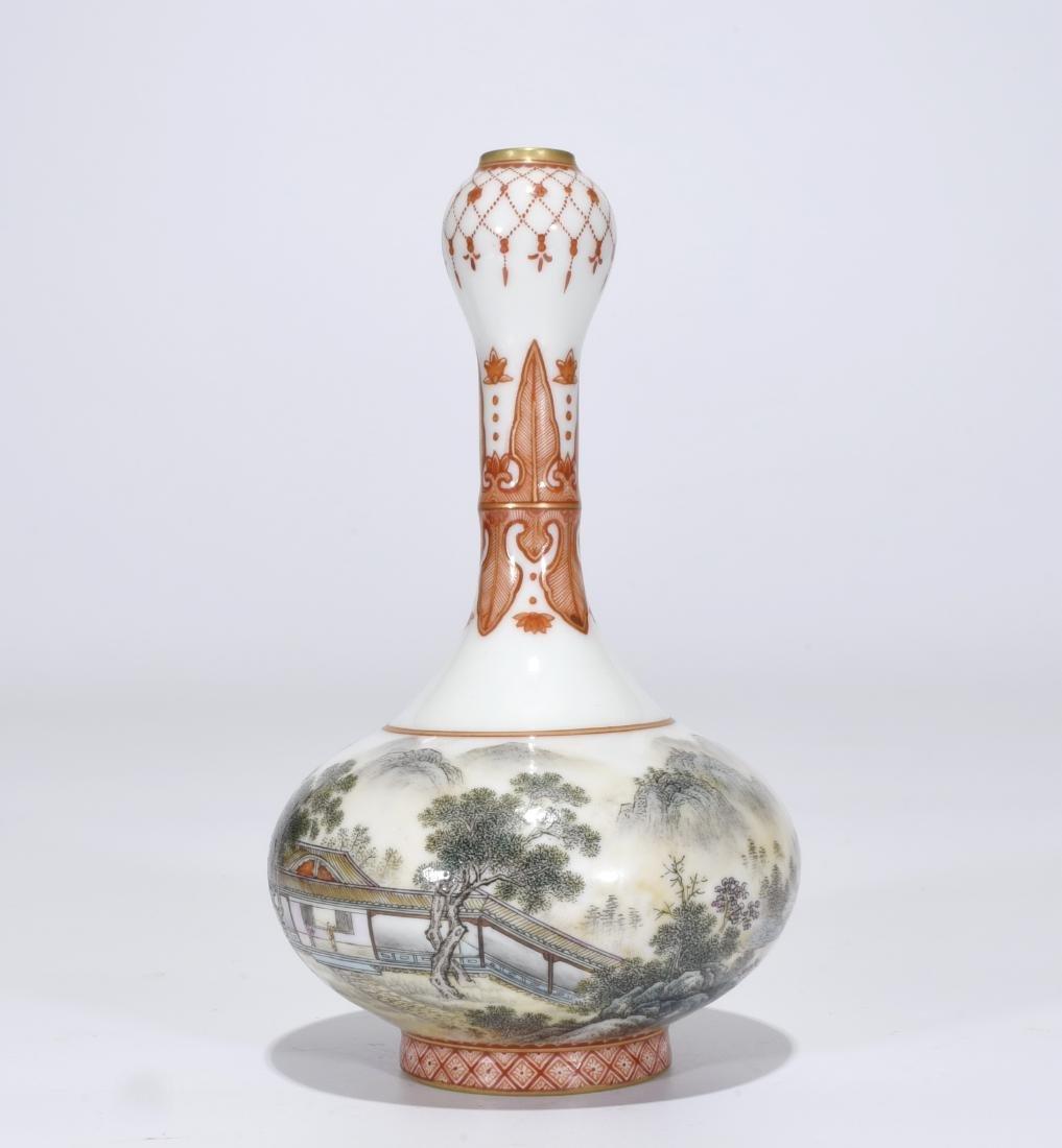 Qianlong Marked Falangcai Garlic-Head Bottle Vase - 3