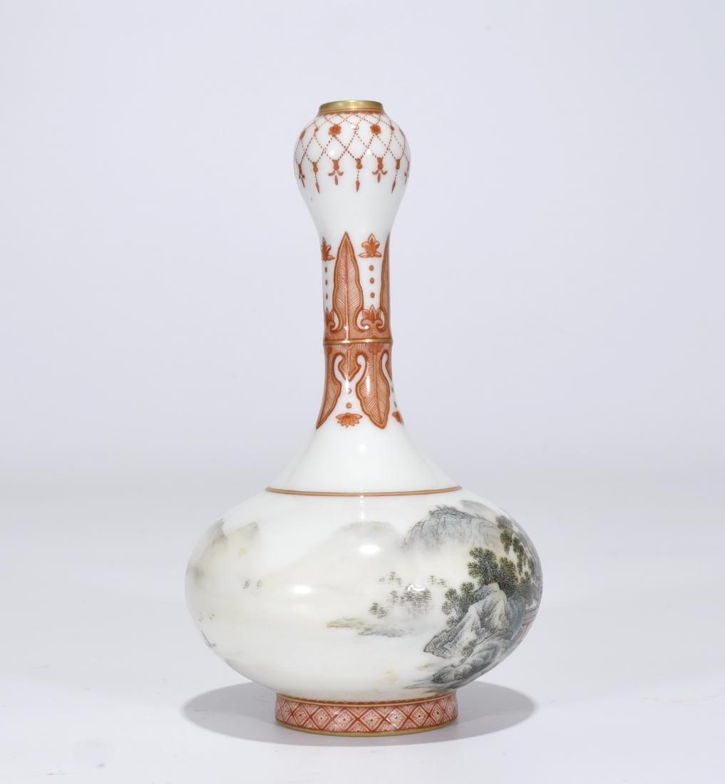 Qianlong Marked Falangcai Garlic-Head Bottle Vase - 6