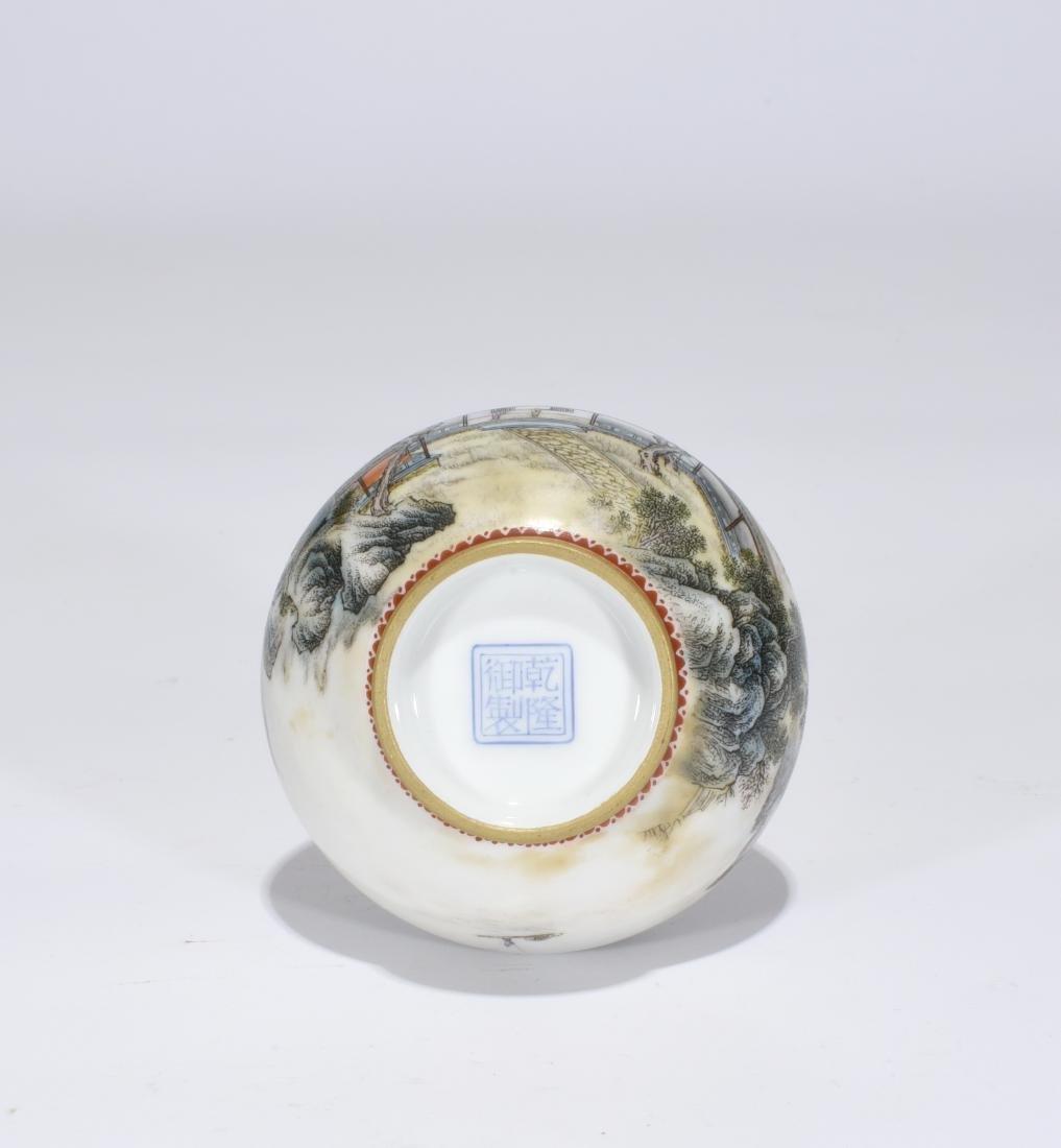 Qianlong Marked Falangcai Garlic-Head Bottle Vase - 7