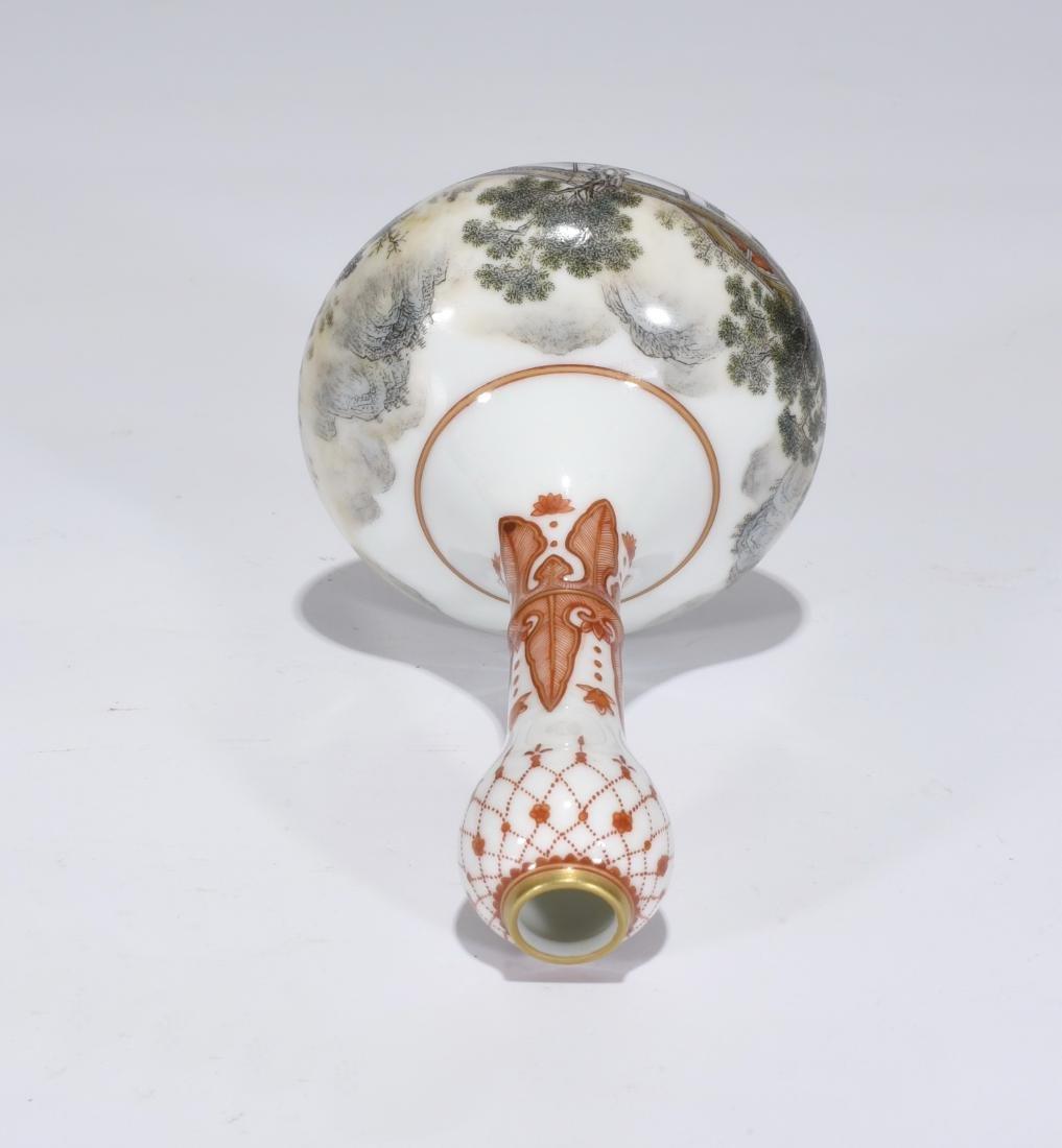 Qianlong Marked Falangcai Garlic-Head Bottle Vase - 8