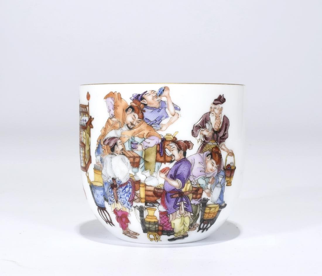A Qianlong Marked Famille Rose 'Figure' Cup