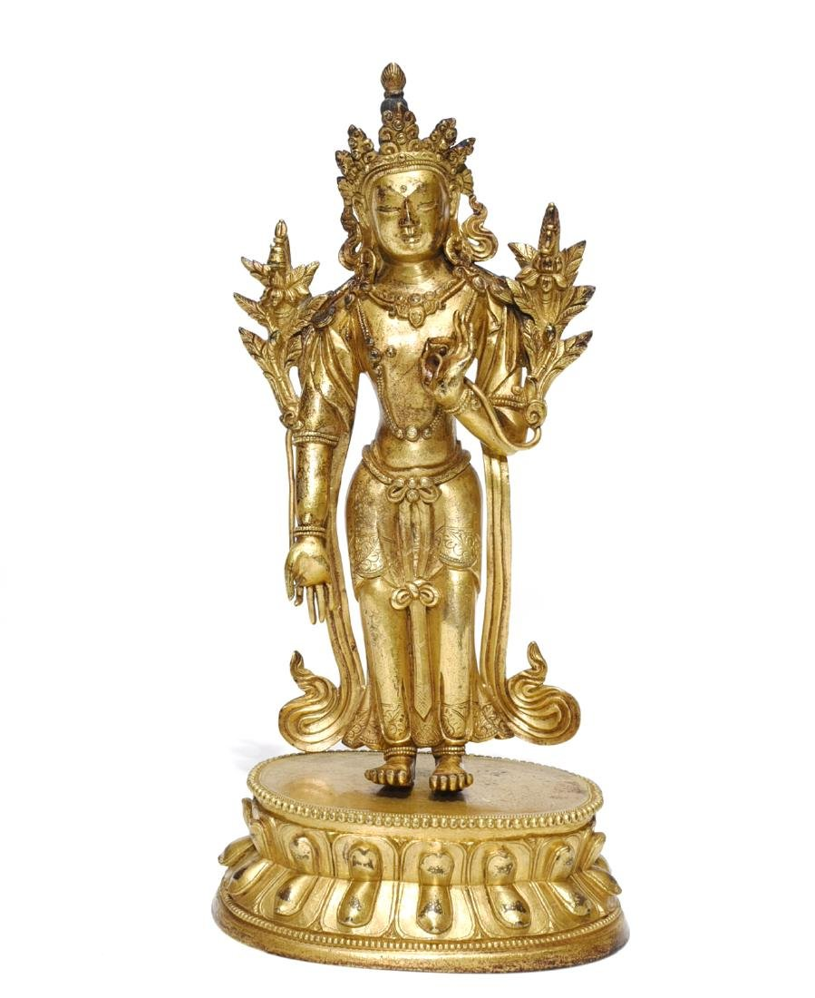 A Gilt-Lacquered Standing Figure of Guanyin