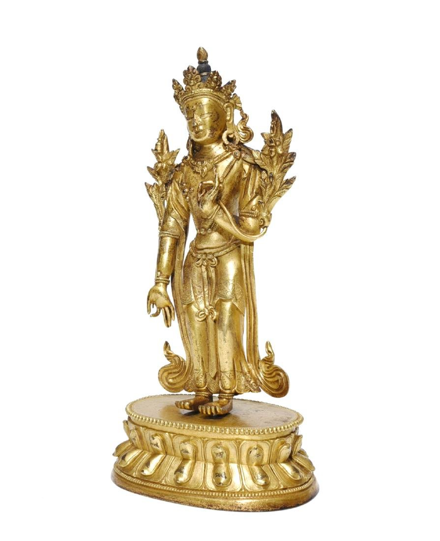 A Gilt-Lacquered Standing Figure of Guanyin - 3