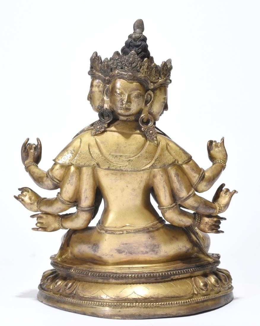 A Gilt-Bronze Multi-Armed Figure of Guanyin - 4