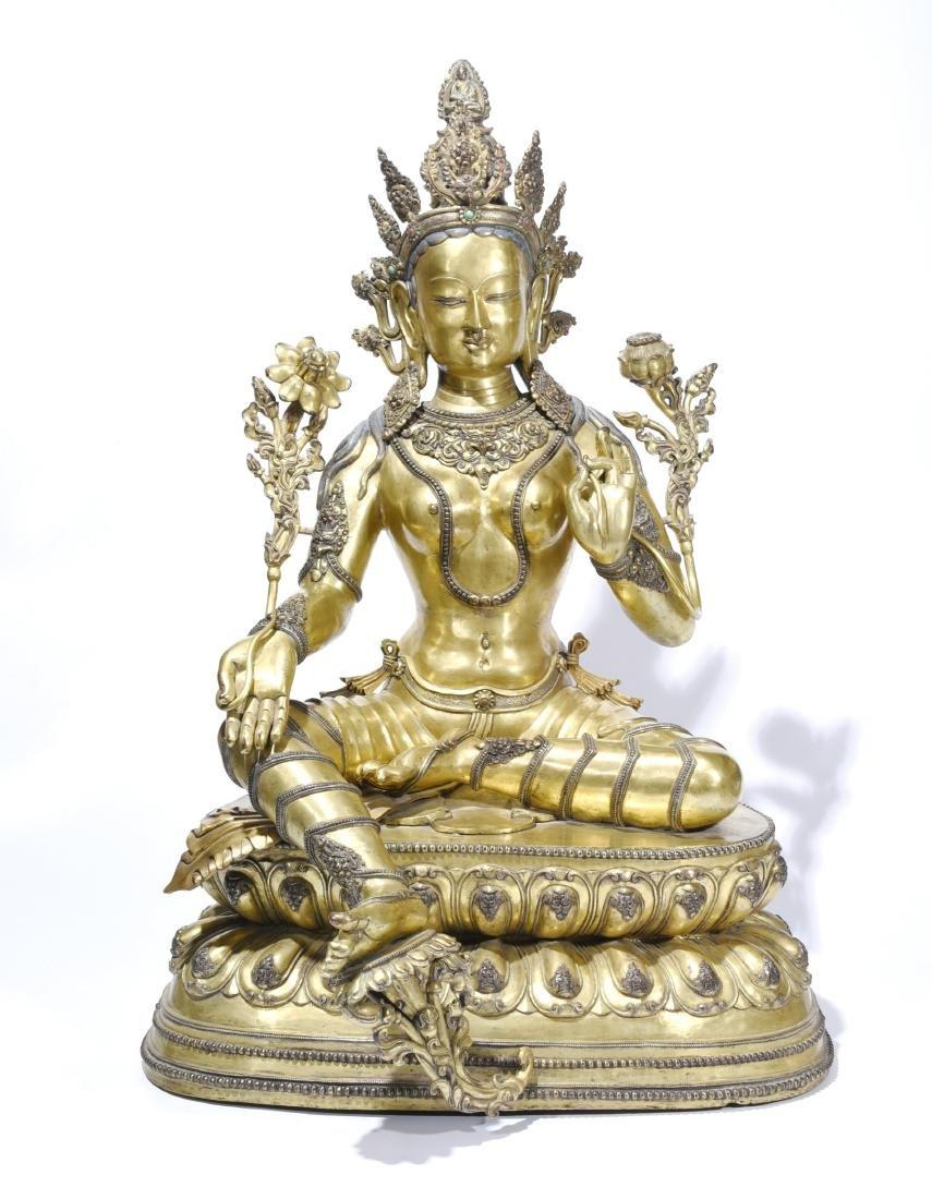 A Gilt-Bronze Figure Of Syamatara