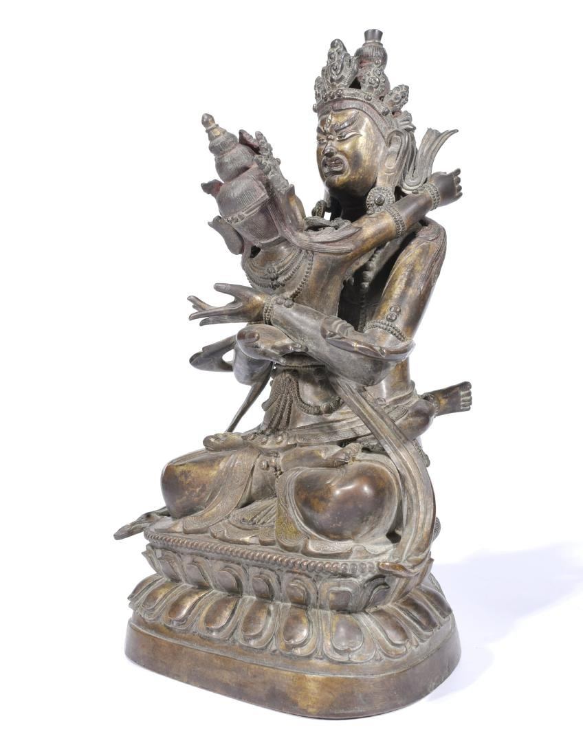 A Copper Figure of A Buddha With Consort