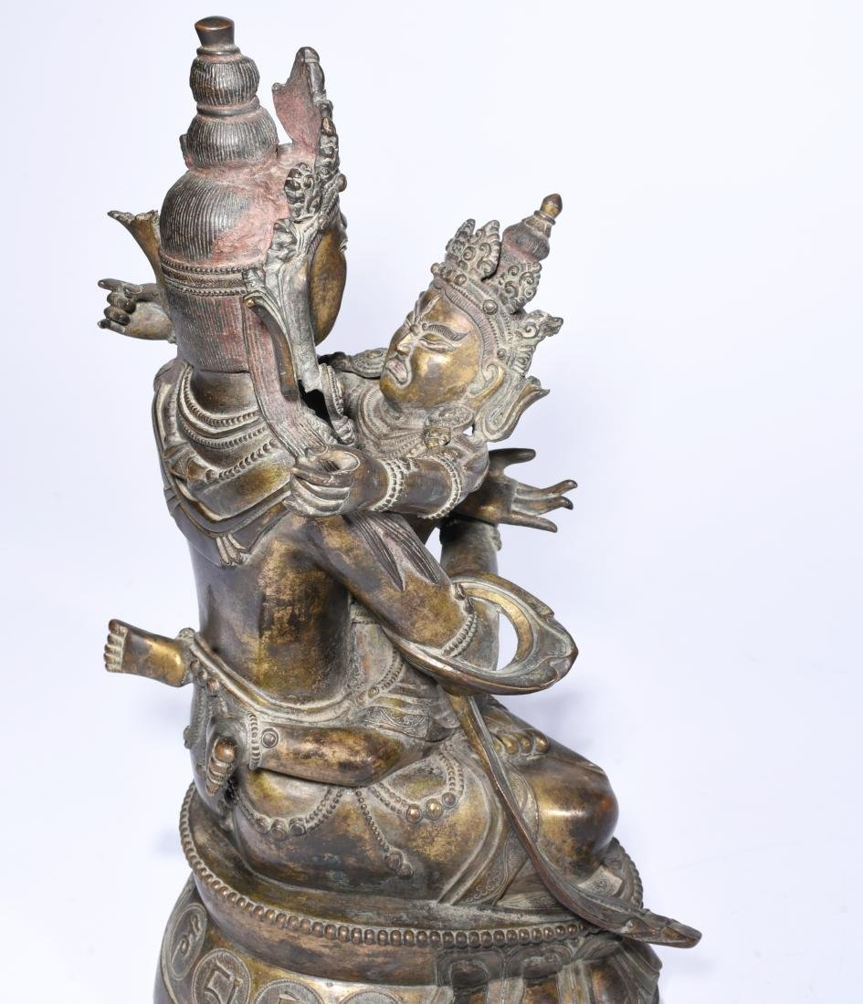 A Copper Figure of A Buddha With Consort - 7