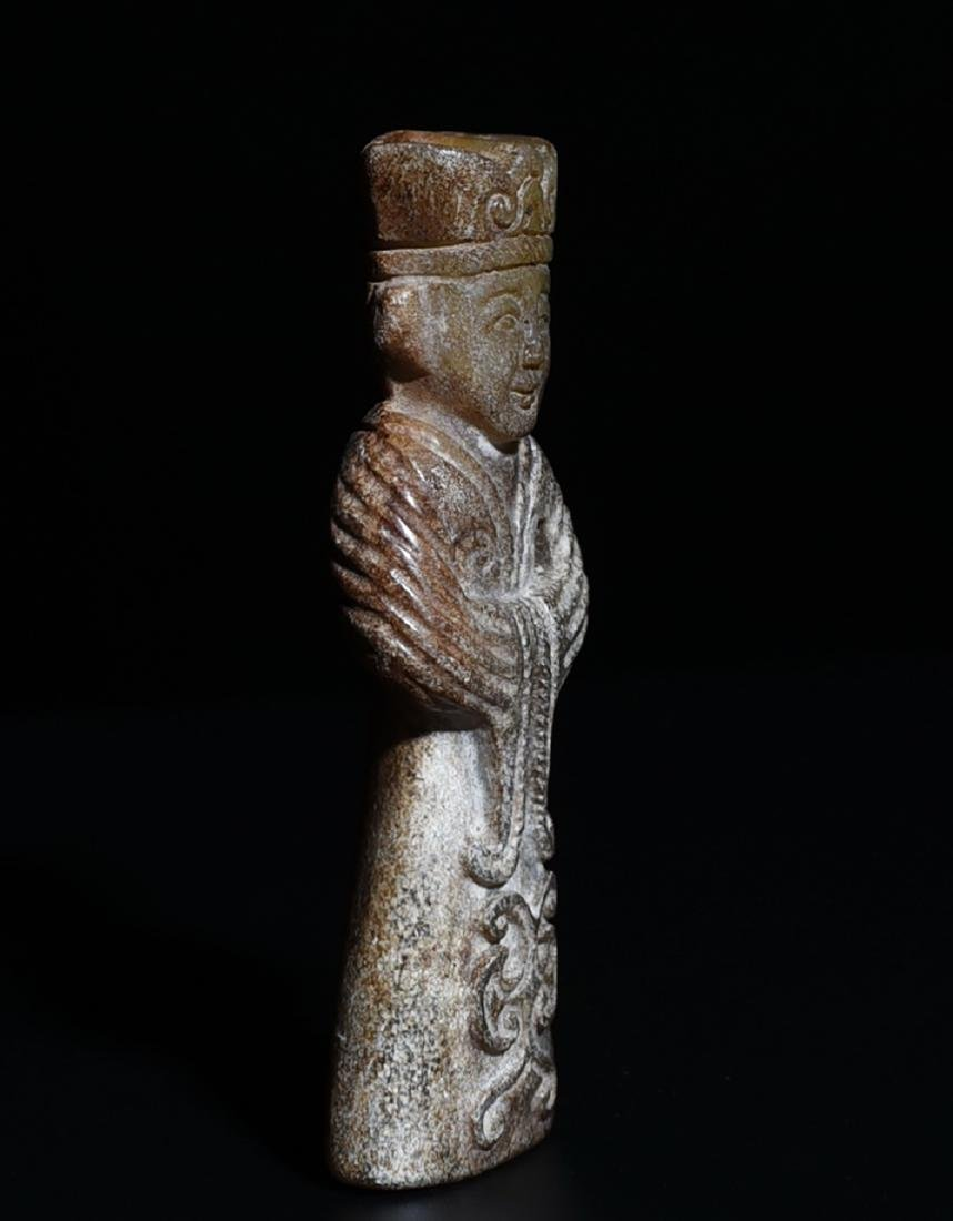 An Archaic Jade Carved Figure - 3
