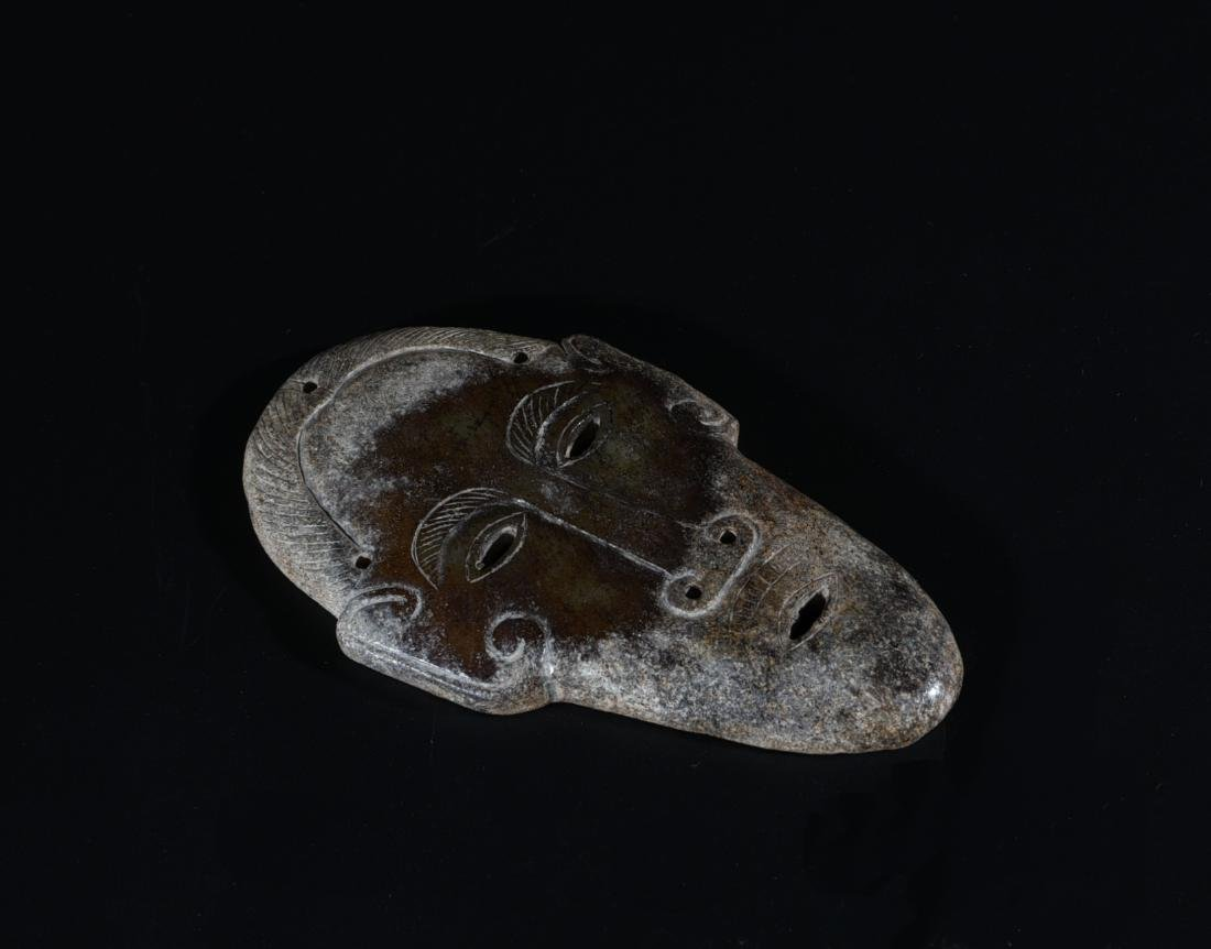 An Archaic Jade Carved Mask - 3