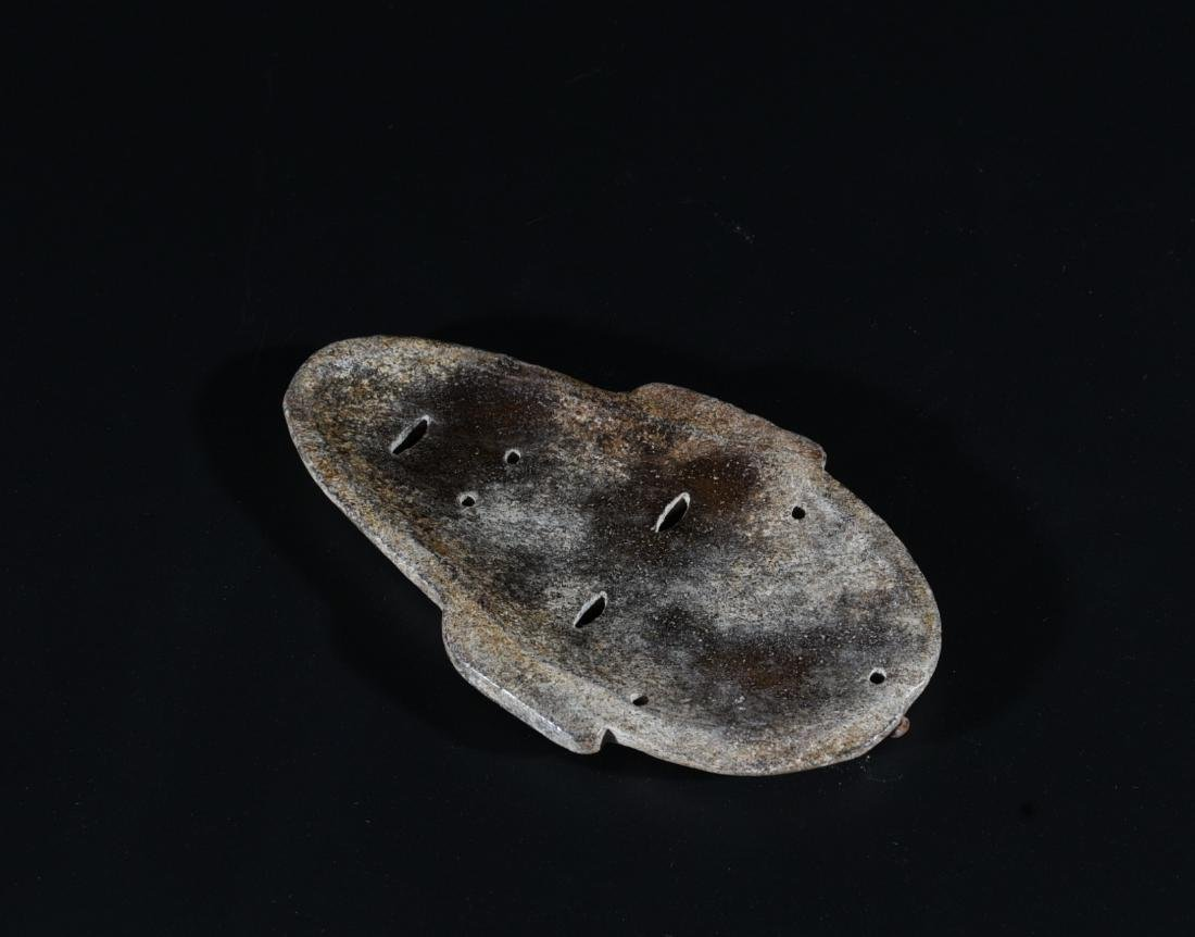 An Archaic Jade Carved Mask - 4