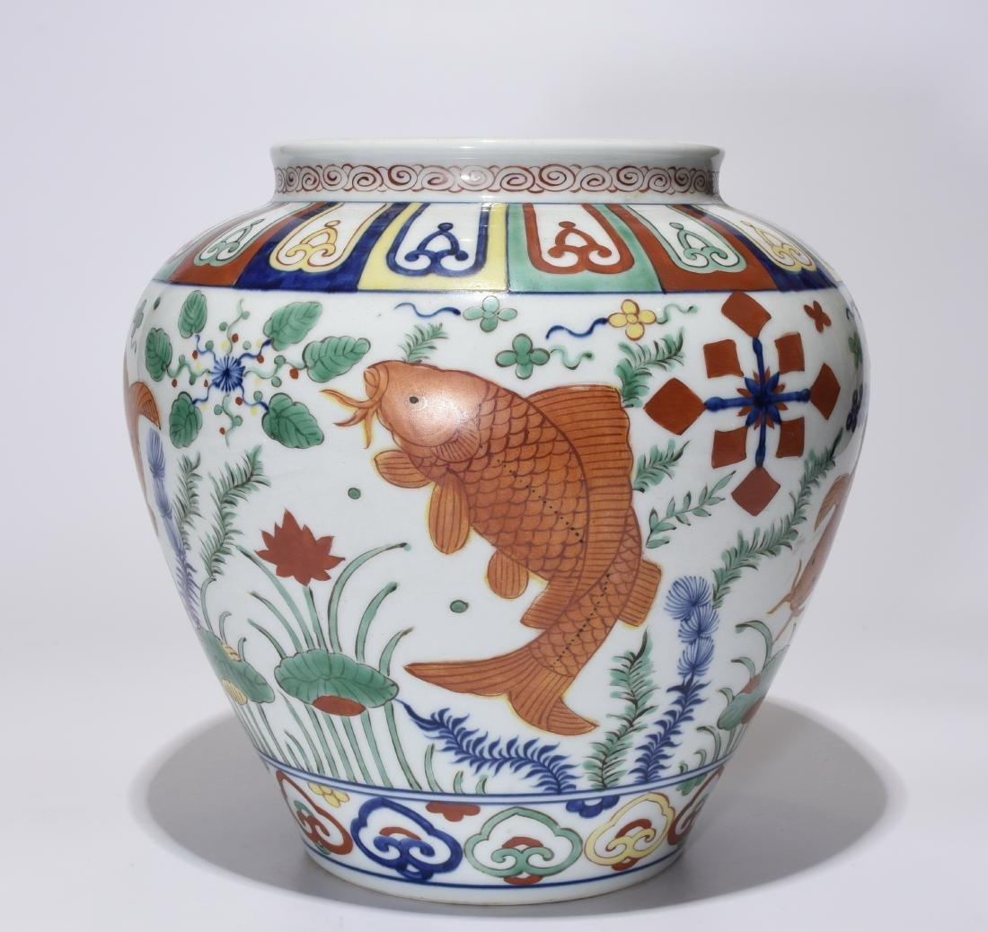 A Jiajing Marked Doucai 'Fish' Jar - 4