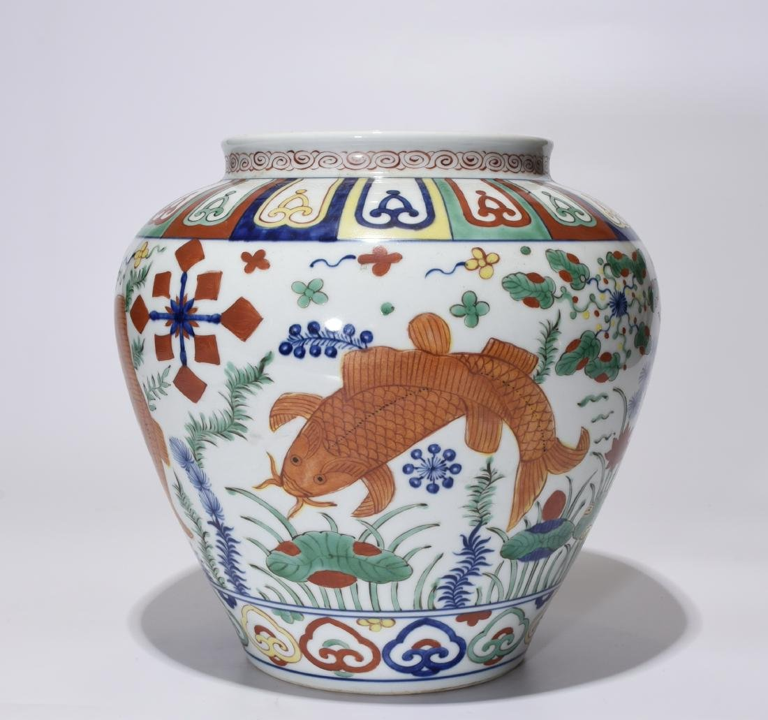 A Jiajing Marked Doucai 'Fish' Jar - 5