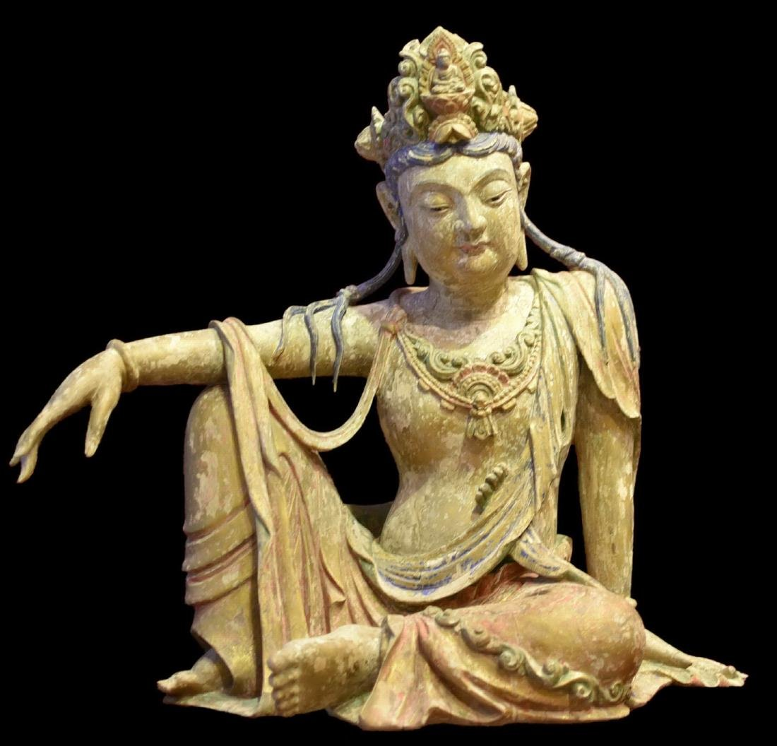 A Wood Carved Figure of Guanyin