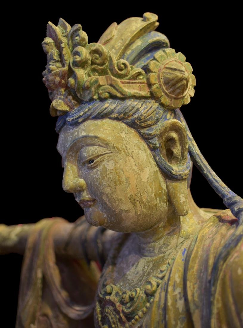 A Wood Carved Figure of Guanyin - 2