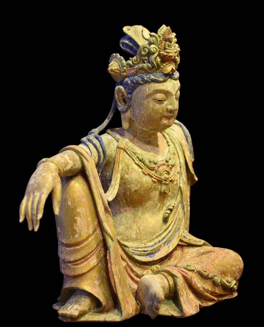 A Wood Carved Figure of Guanyin - 3
